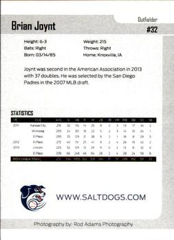 2014 Lincoln Saltdogs Team Issue #NNO Brian Joynt Back
