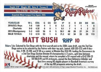 2016 Grandstand Frisco RoughRiders #NNO Matt Bush Back