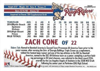 2016 Grandstand Frisco RoughRiders #NNO Zach Cone Back