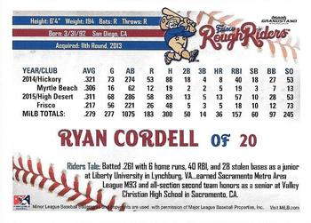 2016 Grandstand Frisco RoughRiders #NNO Ryan Cordell Back