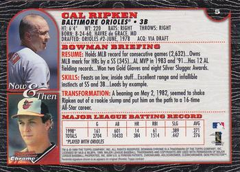 1999 Bowman Chrome #5 Cal Ripken Jr. Back