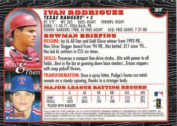 1999 Bowman Chrome #37 Ivan Rodriguez Back