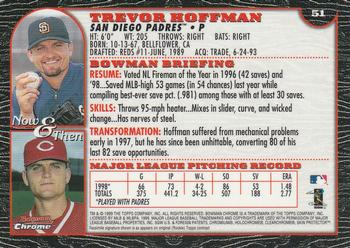 1999 Bowman Chrome #51 Trevor Hoffman Back