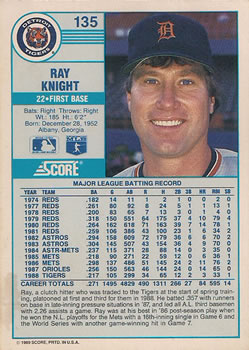 1989 Score #135a Ray Knight Back