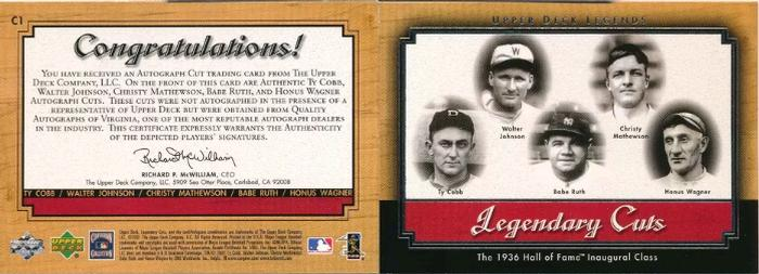 2001 Upper Deck Legends - Legendary Cuts #C1 Ty Cobb / Babe Ruth / Christy Mathewson / Walter Johnson / Honus Wagner Back