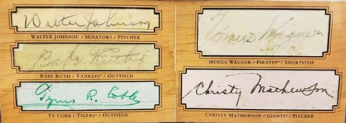 2001 Upper Deck Legends - Legendary Cuts #C1 Ty Cobb / Babe Ruth / Christy Mathewson / Walter Johnson / Honus Wagner Front