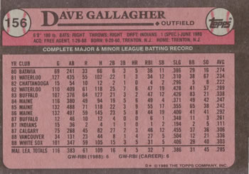 1989 Topps #156 Dave Gallagher Back