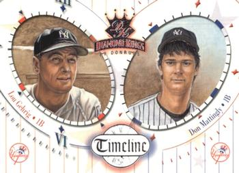 2002 Donruss Diamond Kings - Timeline #TL1 Lou Gehrig / Don Mattingly  Front