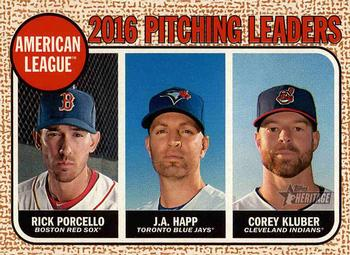 2017 Topps Heritage #10 Corey Kluber / J.A. Happ / Rick Porcello Front