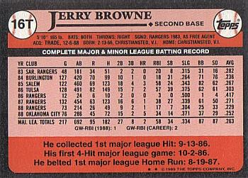 1989 Topps Traded #16T Jerry Browne Back