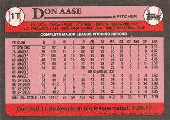 1989 Topps Traded #1T Don Aase Back