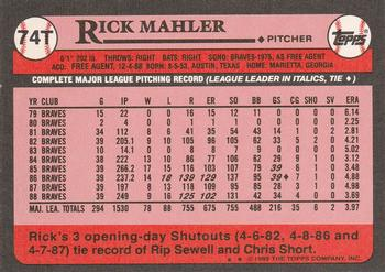 1989 Topps Traded #74T Rick Mahler Back