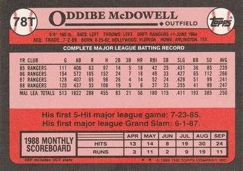 1989 Topps Traded #78T Oddibe McDowell Back