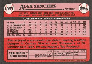1989 Topps Traded #109T Alex Sanchez Back