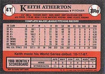 1989 Topps Traded #4T Keith Atherton Back