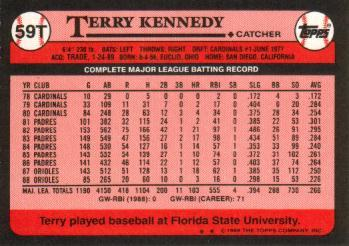 1989 Topps Traded #59T Terry Kennedy Back