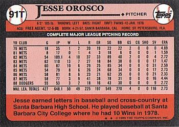 1989 Topps Traded #91T Jesse Orosco Back
