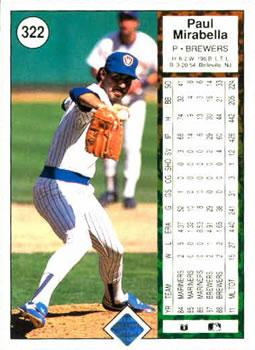 1989 Upper Deck #322 Paul Mirabella Back