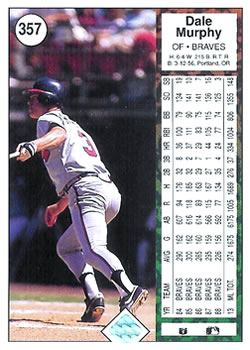 1989 Upper Deck #357 Dale Murphy Back