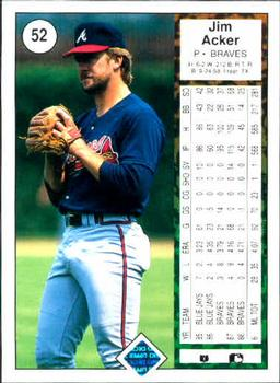 1989 Upper Deck #52 Jim Acker Back