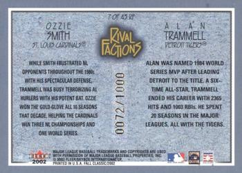 2002 Fleer Fall Classic - Rival Factions #7RF Ozzie Smith / Alan Trammell Back
