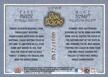 2002 Fleer Fall Classic - Rival Factions #22RF Dave Parker / Mike Schmidt Back