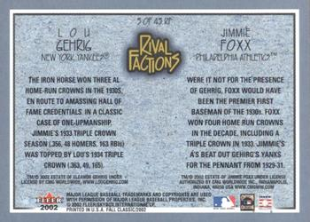 2002 Fleer Fall Classic - Rival Factions Retail #3RF Jimmie Foxx / Lou Gehrig  Back