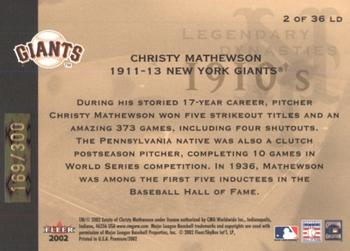 2002 Fleer Premium - Legendary Dynasties Gold #2 Christy Mathewson  Back