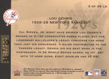 2002 Fleer Premium - Legendary Dynasties Gold #3 Lou Gehrig  Back