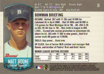 2000 Bowman Draft Picks & Prospects #18 Matt Boone Back