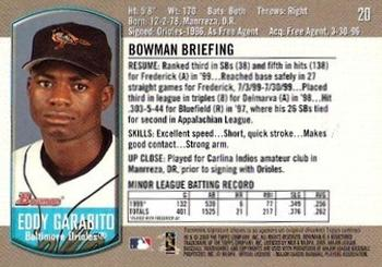 2000 Bowman Draft Picks & Prospects #20 Eddy Garabito Back