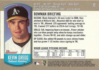 2000 Bowman Draft Picks & Prospects #19 Kevin Gregg Back