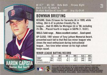 2000 Bowman Draft Picks & Prospects #21 Aaron Capista Back