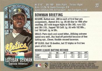 2000 Bowman Draft Picks & Prospects #22 Esteban German Back