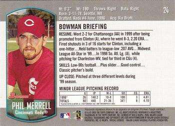 2000 Bowman Draft Picks & Prospects #24 Phil Merrell Back