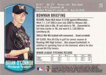 2000 Bowman Draft Picks & Prospects #25 Brian O'Connor Back