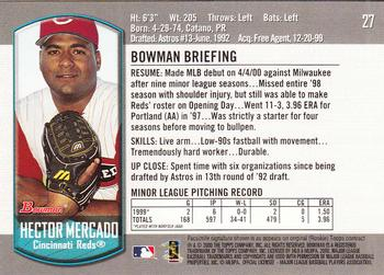 2000 Bowman Draft Picks & Prospects #27 Hector Mercado Back