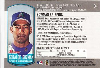 2000 Bowman Draft Picks & Prospects #64 Geraldo Guzman Back