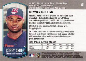 2000 Bowman Draft Picks & Prospects #90 Corey Smith Back