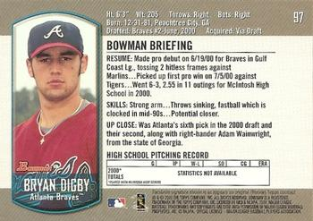 2000 Bowman Draft Picks & Prospects #97 Bryan Digby Back