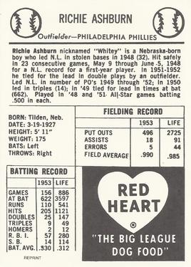 1991 1954 Red Heart Dog Food Reprint Baseball Gallery