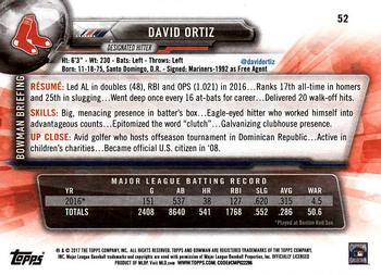 2017 Bowman #52 David Ortiz Back