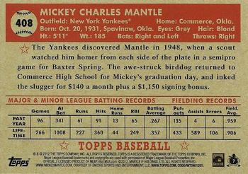 2012 Topps National Convention - VIP Promos #408 Mickey Mantle Back