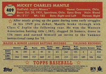 2012 Topps National Convention - VIP Promos #409 Mickey Mantle Back