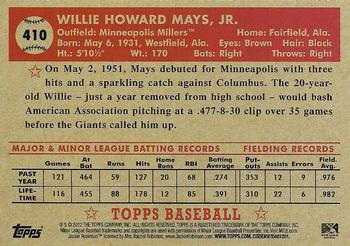 2012 Topps National Convention - VIP Promos #410 Willie Mays Back