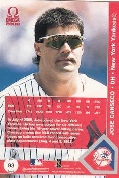 2000 Pacific Omega #93 Jose Canseco Back