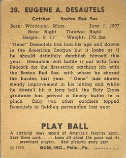 1940 Play Ball #28 Gene Desautels Back