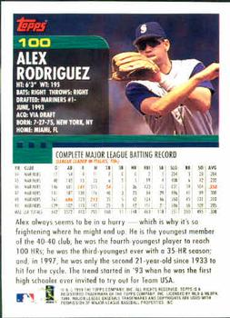 2000 Topps #100 Alex Rodriguez Back