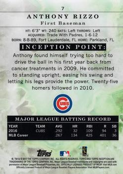 2017 Topps Inception #7 Anthony Rizzo Back