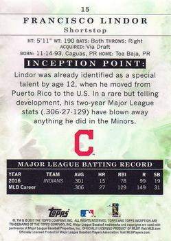 2017 Topps Inception #15 Francisco Lindor Back